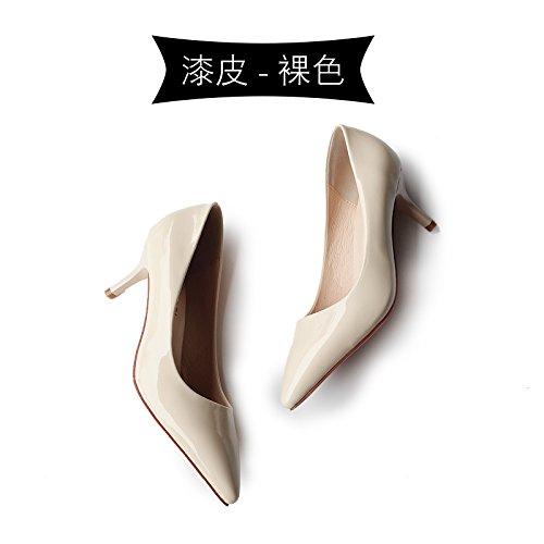 Nude profesionales 2018 trabajo tacones señaló zapatos Tacones Jqdyl primavera color de con altos bien negro zapatos BnO6n1qwW
