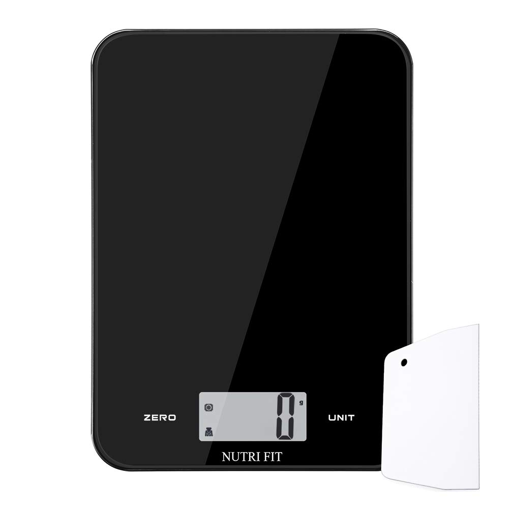 Digital Kitchen Scale with Dough Scraper, NUTRI FIT Overweight Food Scale 17.6lb, 8kg,Large Display,Easy to Clean,Tempered Glass, Ultra Slim(Black)