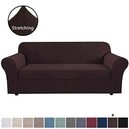 H.VERSAILTEX T Cushion Sofa Slipcovers 2 Piece Couch Covers Furniture Cover/Protector, Super Stretch Non Slip Soft Couch Sofa Cover with Elastic Bottom for Kids, Pets (Sofa X-Large, Brown)