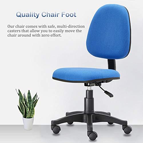 Blå skrivbordsstol för tonårspojkar, små hemmakontor stol utan vapen, för vardagsrum sovrum arbetsrum trägolv
