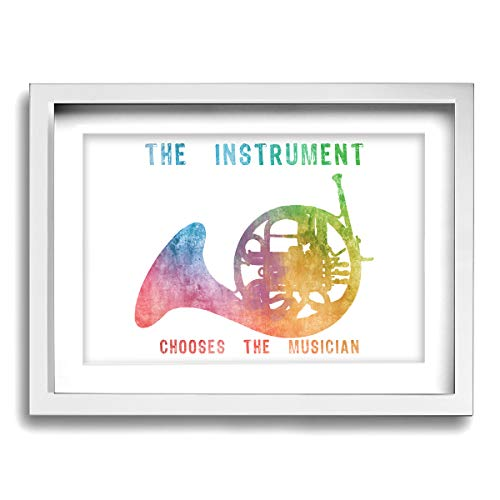French Wall Horn - CLLSHOME 12x16 Inches Wall Decor Toilet Bathroom Framed Art Print Picture French Horn The Instrument Chooses Wall Art for Home Decorations