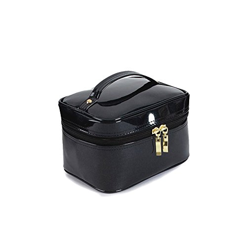 La jolie fée Beauty Box Crocodile Pattern Leather Travel Cosmetic Bag (Enamel Pearl Black)