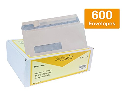 600 #10 Single left Window Security Envelopes | Self-Seal, Blue Tint for Privacy | Designed for QuickBooks Invoices, Business & Legal Statements | Size 4-1/8 x 9-1/2 inches, White - 10 Single Window
