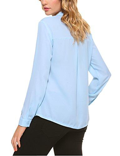 Cuello Trabajo Oficina Mujeres Plana Con Blue Suelta Camisa Llanura Light Iclosam Blusa De Gasa Larga Manga Hxtqqwp