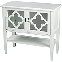 Heather Ann Creations Modern 2 Door Accent Console Cabinet With 4 Pane Clover Glass Insert and Bottom Shelf Antique White