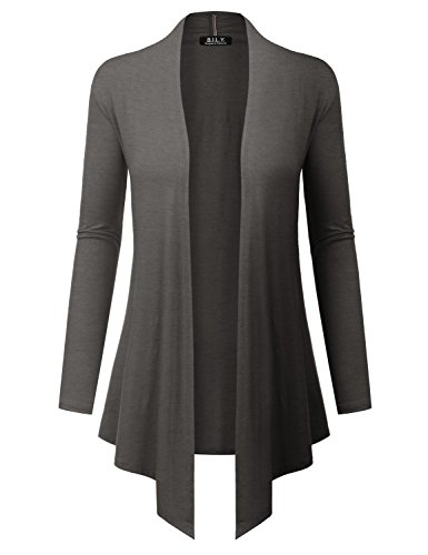 - BH B.I.L.Y USA Women's Open Front Drape Hem Lightweight Cardigan with Pockets Charcoal XX-Large