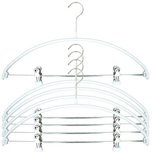 MAWA Reston Lloyd Euro Series Light/Thin Non-Slip Space-Saving 40/PK Clothes Hanger with Bar and Hooks for Pants and Skirts with Clips Set of 5, White, Pack of 5, ()