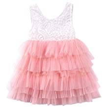 Annvivi Baby Girls Lace Tutu Tulle Princess Wedding Flower Girl Birthday Party Dress