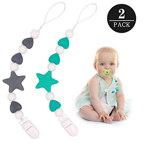 MCGMITT Pacifier Clip Silicone, Binky Holder Teething Beads Toys for Baby Boys Toddler (Star)