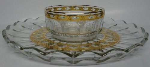 Arcoroc France Gold Band green diamond open band Thumbprint bowl and plate