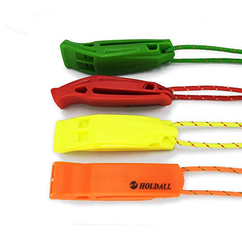 HOLDALL Emergency Safety Whistle with Lanyard, Loud Pea-Less Whistles for Boating Kayaking Life Vest Survival Rescue Signaling.