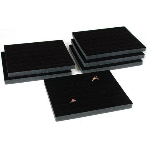FindingKing (6) 36 Ring Slot Black Tray Inserts Travel Showcase Displays