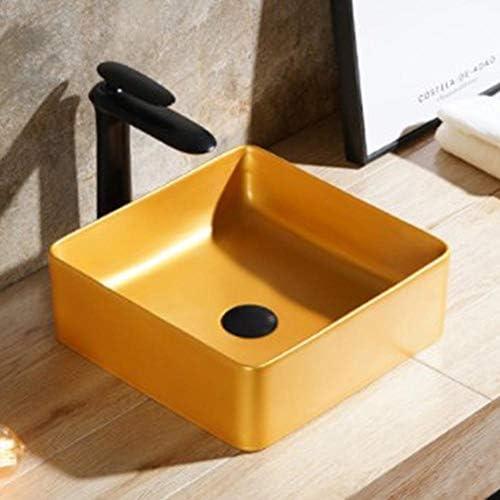 洗面ボール 北欧スクエア上記カウンター洗面化粧台洗面ボウルマットゴールド陶芸盆地 洗面器 (Color : Yellow, Size : 37x37x12cm)