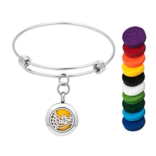 (Moonlight Collections Adjustable Bangle Scented Oil Diffuser Music Note Charm Bracelet Magnetic Wire Essential Fragrance Locket)