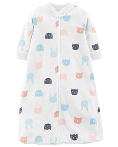 Carter's Unisex Baby Fleece Sleepbag Sleepsuit, Animal Faces Girls, Small/0-3 Months