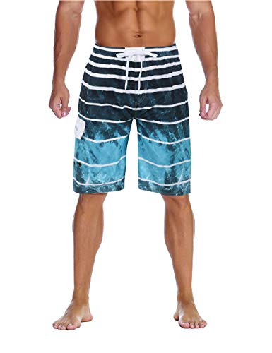 (Unitop Men's Classic Quick Dry Bathing Shorts with Linning Lake Blue 28 )