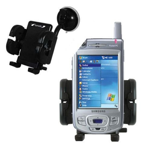 Gomadic Brand Flexible Car Auto Windshield Holder Mount designed for the Samsung SGH-i700 - Gooseneck Suction Cup Style Cradle