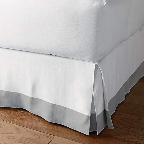 """Bedding Overseas Classic Box Pleated Bed Skirt Dust Ruffle Tailored Styling (White/Light Grey,Cal-King - 6"""" Drop)"""