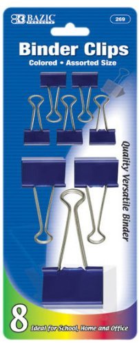 BAZIC Assorted Size Color Binder Clip (8/Pack), Case Pack of 144