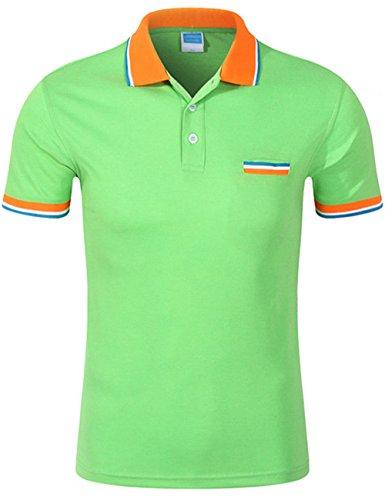 Lime Green Leisure Suit (XI PENG Men's Dress Modern Fit Golf Short Sleeve Pique Polo Shirt Tees (Medium, Lime Green))