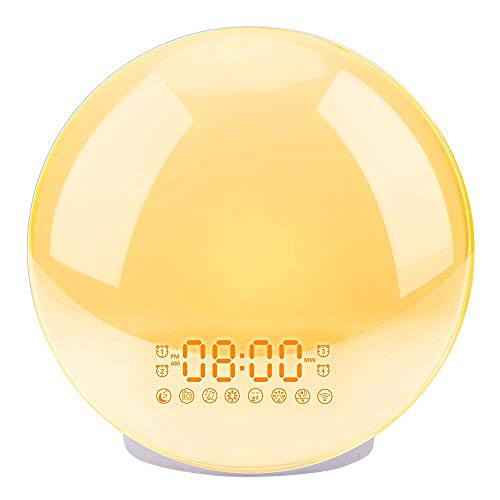 (Sunrise Alarm Clock, LBell Upgrade Smart Wake Up Light Compatible with Alexa/Echo/Google, 8 Colors Sunrise Simulation and Sunset Fading Night Light for Bedrooms with FM Radio/ 4 Alarms/Snooze)