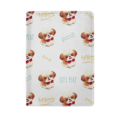 (Personalized Shih Tzu Dog Leather Passport Holder Cover Travel Wallet Case )
