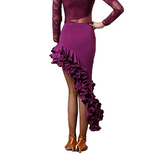 Per s Latina Latino Donne Cha Gonna Purple Alta Costume Da Danza Qualità Tango A Ballo S Di Wqwlf Spirale Abito wHtAzIxqw