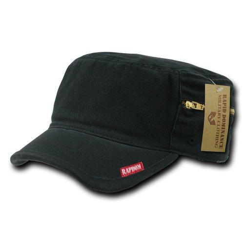 Hat Adjustable Fatigue - Rapiddominance Adjustable Patrol Cap with Zipper, Black
