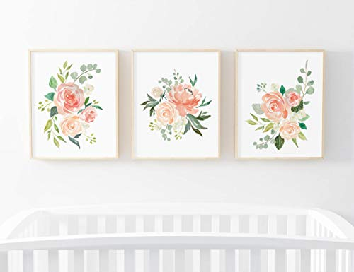 MalertaART Cream and Peach Set of 3 Floral Prints Nursery Decor Floral Prints Nursery Wall Art 3 Pack Nursery Print Watercolor Flowers Bouquet Framed Wall Art