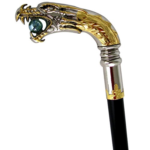 Silver Plated Dragon Head Cane Walking Stick