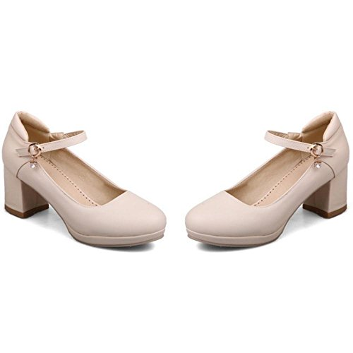 TAOFFEN Women's Fashion Block Heel Court Shoes Beige-411 UMDhvj