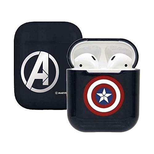 (Camino Marvel Avengers Captain America Airpod Hard Case iPhone Airpods Accessories (Blue/Red Shield))