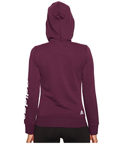 adidas Women's Essentials Linear Full Zip Fleece Hoodie, Red Night, X-Small by adidas (Image #2)