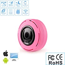 360 ° Panoramic IP Fisheye Camera, WIFI 2.4G 960P Bi-directional Voice Intercom Security Camera, Outdoor Ultra Wide Angle, Support Infrared Night Vision Motion Detection (Pink)