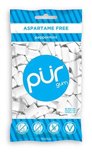 PUR Gum, Peppermint, 55 pieces - Aspartame Free, Sugar Free, 100% Xylitol, Natural Chewing Gum, Non GMO, Vegan