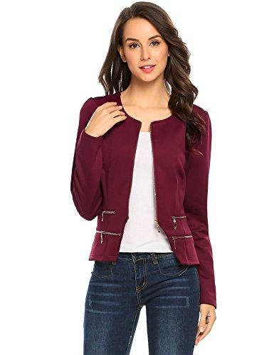 Lined Petite Coat - Pinspark Women's Solid Dress Jackets Work Zipper Office Blazer (S, Burgundy)