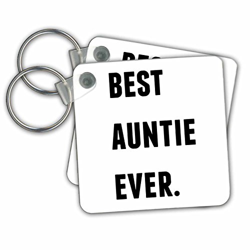 kc_213362_1 Xander inspirational quotes - Best Auntie Ever, Black Letters On A White Background - Key Chains - set of 2 Key Chains