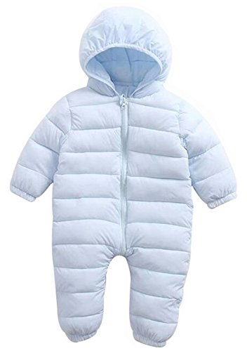 EGELEXY Baby Unisex Winter Snowsuit Down Jacket Kids Snow Wear Hooded Puffer Jumpsuit Size 12-18 Months/Tag90 (Blue)