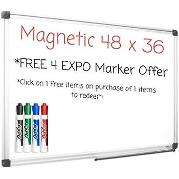 Magnetic White Board 36x48 Premium Dry Erase Vertical/Horizontal Mount Whiteboard w/Marker Tray