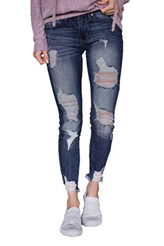 Blue Donna Sfrangiato Arruffati Houjibofa Bordo Jeans Con Lavare I g8dOdxq0Hw