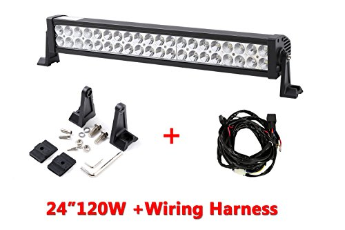 Amazon richsolar 120w 24 inch led light bar work lights flood amazon richsolar 120w 24 inch led light bar work lights flood spot combo beam waterproof 10v 30v 3w40 12000 lumen for 4wd suv ute offroad truck atv mozeypictures Image collections