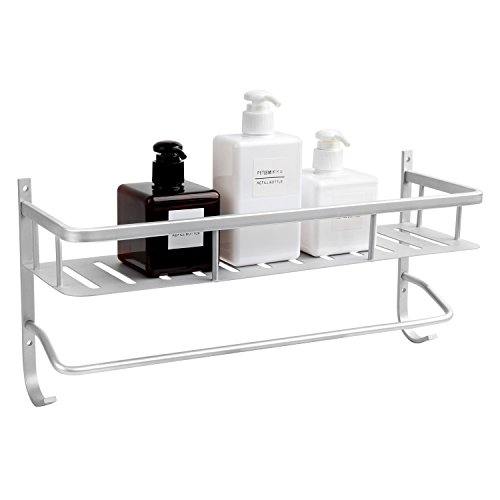VDOMUS Bathroom Wall Shelf, Anti Rust Shower Shelf with Rail