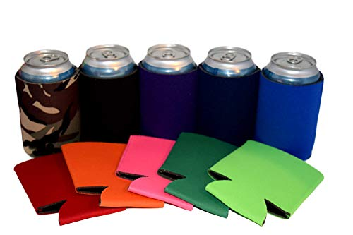 QualityPerfection Set Of 50 - Blank Beer Can Coolers Sleeves Soft Drink Collapsible Insulator Coolers (50, Red,Kelly Green,Royal Blue,Orange,Navy Blue,Pink,Camo Military,Lime Green,Black,Purple,)