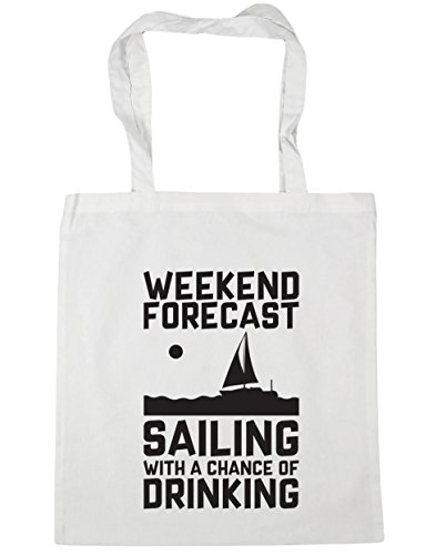 HippoWarehouse Weekend Forecast Sailing With a Chance of Drinking Tote Shopping Gym Beach Bag 42cm x38cm, 10 litres White