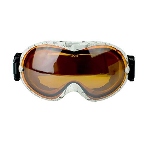 Gafas de esquí para adultos Gafas antideslizamiento anti-vaho y UV a prueba de viento, grandes y esféricas. (Color : White water droplets, Tamaño : 95mm*350mm)