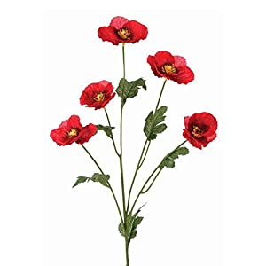 """Afloral Red Mini Poppy Silk Flowers - 24"""" Tall 116"""