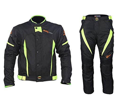 XIAOWANG Leichte Motorradjacke mit Protektoren -Motorradkombi Motorradjacke +Hosen Wasserdicht All Weather…