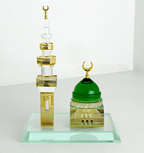 ISLAMIC MUSLIM CRYSTAL MOSQUE ( Al Madena ) WITH MINARET by Nabil's Gift Shop