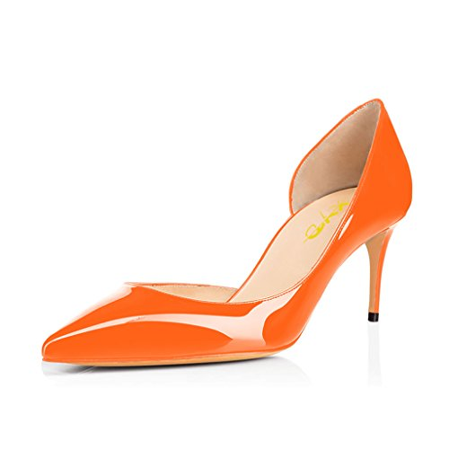 XYD Sexy Low Heel D'Orsay Shoes Pointed Toe Slip on Evening Kitten Pumps for Women Orange-patent outlet in China 2uWr65Mr