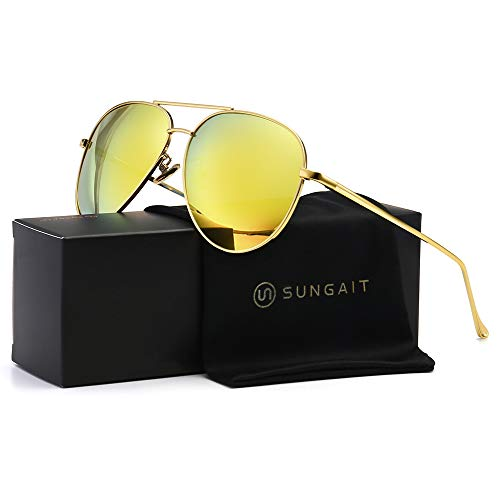 SUNGAIT Women's Lightweight Oversized Aviator sunglasses - Mirrored Polarized Lens (Gold Frame/Yellow Mirror - Polarized Small Sunglass Lens